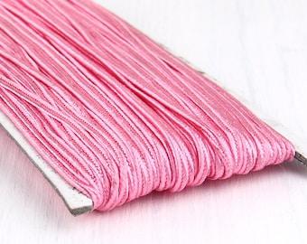 Pink, Soutache Braid Cord, Soutache Trim, Russia Soutache Cord, Braided Cord String, 3mm, 5 meter / 5.50 yards / 196'' // CRD-025