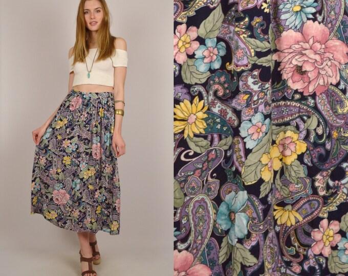 High Waist Pastel Floral Circle Skirt Midi Boho