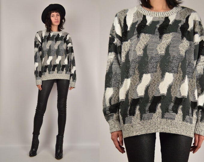 Vintage Gray Chunky Sweater Oversized