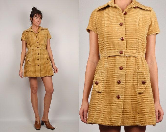 60's Mod Corduroy Mini Dress