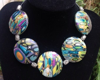 OOAK Hollow Polymer Clay Bead Necklace