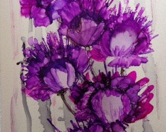 Petty in Purple   -- alcohol ink on metal