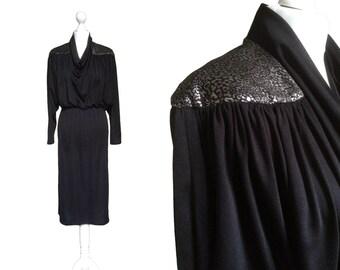 Black And Silver Metallic Dress - 80's Dress - 1980's Vintage Dress - Batwing Sleeves - Cowl Neck Dress