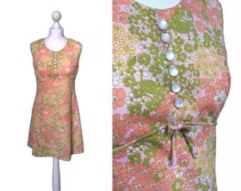 Daisy Print Dress - Vintage Mini Dress - 70's Dress - 1970's Dress - Sleeveless - Floral Dress - A Line Dress