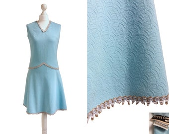 Vintage Peggy Lane Dress - Trevira 2000 - 60's Dress - Vintage 1960's Dress - Baby Blue Crimplene - Drop Waist Dress
