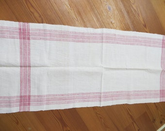 Free Shipping Danish  Rustic Handwoven Linen  Large Towel Red Stripes Kitchen  Dish Cloth Napkin  Wrap  Runner Antique Denmark Upholstery