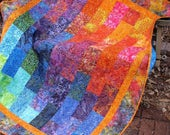 Quilt - Lap Quilt, Sofa Quilt, Quilted Throw - Fire and Ice Lap Quilt