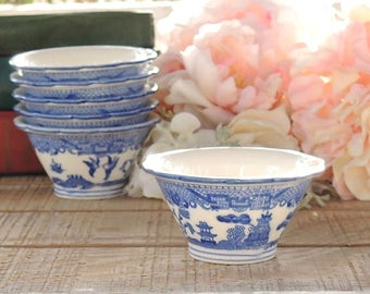 Blue Willow Rice Bowl Listing is for ONE bowl Only Blue White Transferware Dessert Bowl Wedding
