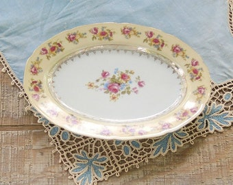 Vintage Gold Castle Hostess China Small Serving Platter Mid Century Made in Japan