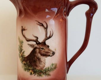 Vintage Milk Pitcher Made in Germany, Brown Ceramic Porcelain Milk Jug With Elk Stag Head, Marked Germany 195