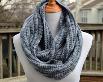 Crochet Textured Infinity Scarf -  Gray