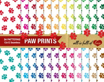 PAW Digital Graphics Cat Paw Patterns Dog Paw Print Pet Paw Digital Paper Pack Rainbow Scrapbook Background Animal Print Paper Bunny Paw