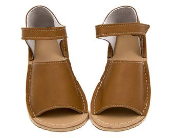 Camel Toddler Leather Sandals, Vibram sole, support barefoot walking, sizes EU 19 to 30 - US 4.5 to 12