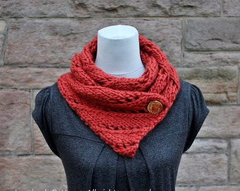 Knitting pattern-diagonal lace woolly scarf womens patterns, Listing137