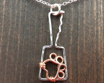 Cowbell Mississippi state bulldog necklace, Cowbell with paw print