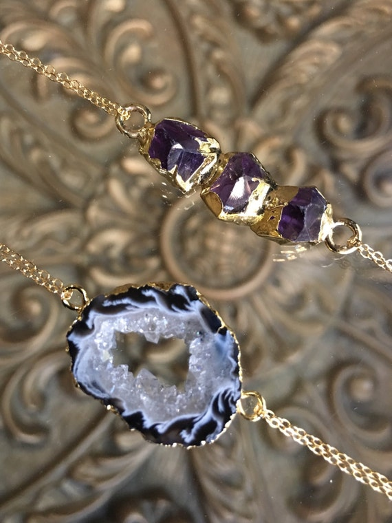 Amethyst Choker and Druzy Geode Choker Necklaces, boho jewelry, Chokers