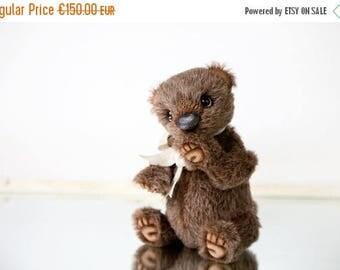 Sale 50% Collectible Artist Teddy bear Eduardo - Brown alpaca Teddy bear  + FREE shipping
