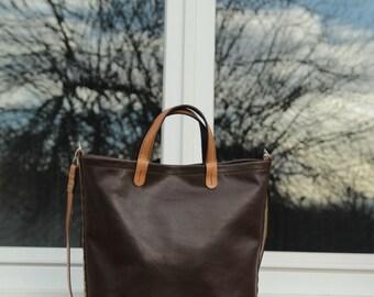 leather tote bag, 100 % handmade, handstitched  dark brown  leather  bag, by GENATI.