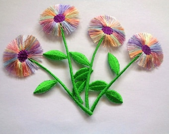 Embroidered Iron - On Applique Thread Flower, Multi / Purple / Apple, x 4, For Romantic & Victorian Crafts