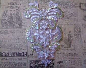 Vintage Floret Teardrop Lace Applique, White, x 1, For Bridal, Romantic, Victorian, Apparel