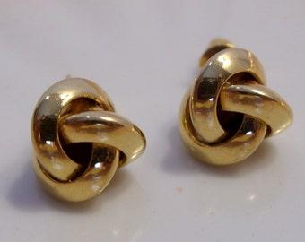 Celtic Knot Love Knot Gold Tone Pierced Earrings