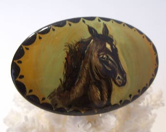 Black Horse Painted Lacquer Brooch Signed