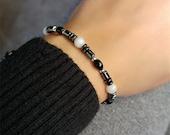 Reserved-Beaded Hematite Bracelet With Onyx Moonstone Sterling Silver Gemstone Unisex Jewelry Energy Chakra Bracelet Birthday Gift For Her