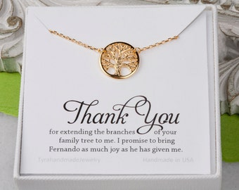 Family Tree charm Necklace,Mother's day gift,Mother of the groom,mother in law gift,gift from bride to mom,tree of life,custom jewelry card
