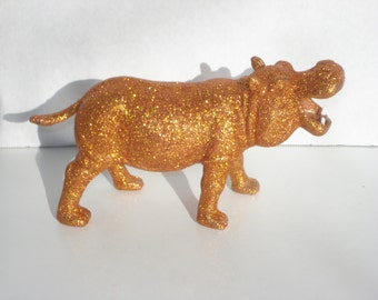 Orange Glitter Hippo - Upcycled Hippopotamus Toy - I want a Hippopotamus for Christmas