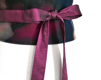 "Reversible Obi Belt ""Leiko"", waist-clancher, prune, purple, blanc by Lorella Créations"