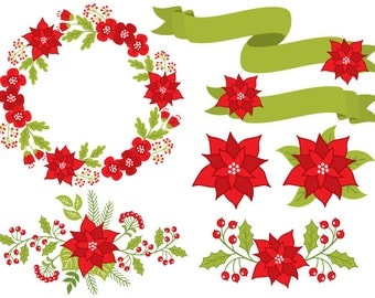 70% OFF SALE Poinsettia Clipart - Digital Vector Poinsettia, Christmas, Poinsettia Wreath Clip Art