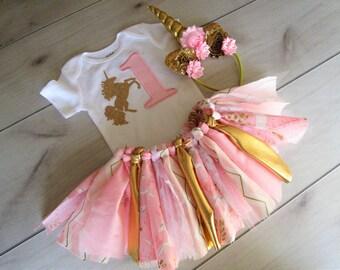 Pink and Gold Theme Tutu Set/1st Birthday Unicorn Outfit/Baby Girl Glitter Unicorn