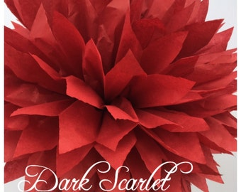 Tissue Paper Pom Poms: Dark Scarlet-- Or Choose Your Colors-- Baby Shower/ Nursery/ Bedroom/ Party Decorations tissue pom