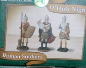 Reserved for NL Rare Vintage Trim a Home O' Holy Night Nativity Village Roman Soldiers and Roman Soldier with Chariot