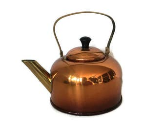 Small Vintage Copper Teapot Coppercraft Guild Tea Kettle, Made in USA