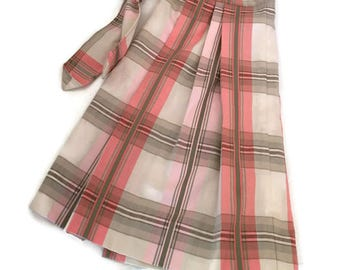 Vintage Apron Cotton Preppy Pink and Beige Plaid Pleated Handmade