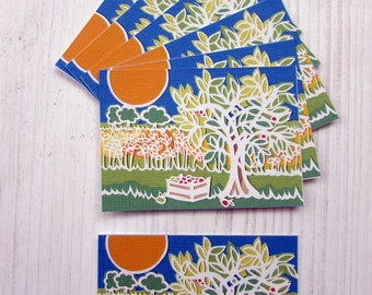 ACEO papercut art print apple tree in countryside