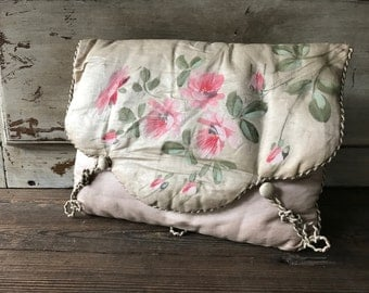 French Silk Lingerie Travel Case, Oyster Silk, Hand Painted Floral Pink Roses, Travel Pocket Folders, French Trousseau