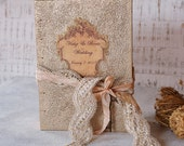 Shabby Wedding Guest Book in Champagne and Peach Photo,Vintage Style Guest book, Wedding Photo AlbumPhoto