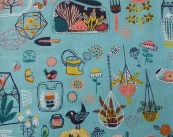1/2 Yard Organic Cotton Fabric - Birch Fabrics, the Hidden Garden, Glass House