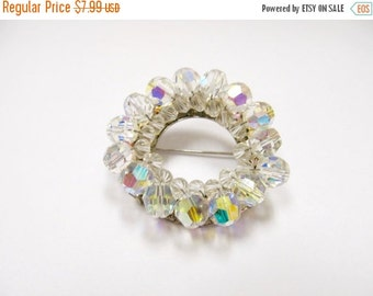On Sale Vintage Aurora Borealis Crystal Circle Pin Item K # 773