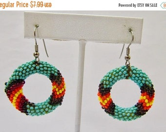 On Sale Vintage Hand Beaded Southwestern Inspired Earrings Item K # 3086