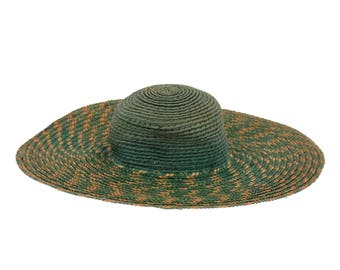 Antique Doll Hat  Wide Brimmed Woven Green and Yellow Straw Hat Antique Doll Clothing Needs TLC