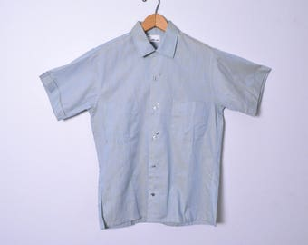 Vintage 1950s Shirt 50s Men's Sharkskin Shirt Looped Collar Size Small