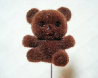 Fuzzy bear stick pin