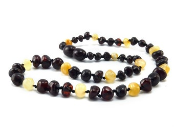 Baltic Amber Necklace Teething Baby Toddler Child Polished Butter Cherry Rounded Beads