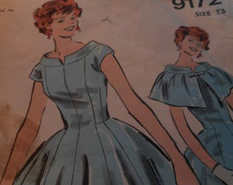 Vintage 1950's Advance 9172 Dress and Cape Sewing Pattern, size 13 Bust 33 or Size 18 Bust 38
