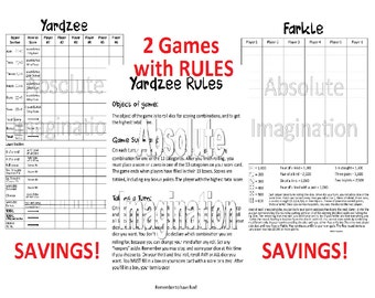 PRINTABLE. SUPER BUNDLE...Yardzee, Yardzee Rules & Farkle Score Card. Yardzee Board. Farkle Board. Lawn Yahtzee Farkle. Digital Download