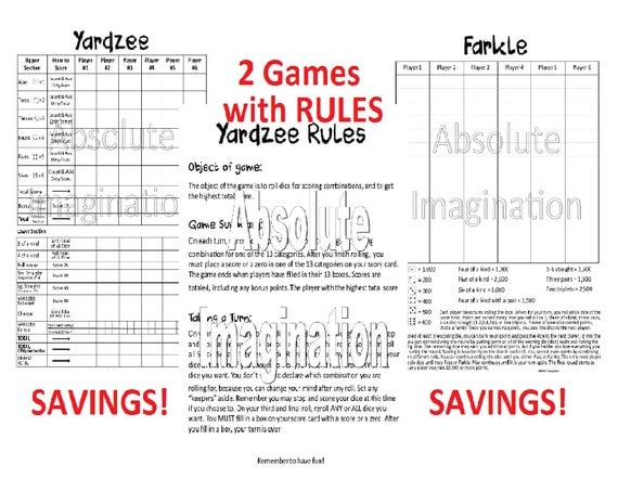 Printable. Super Bundle Yardzee Yardzee Rules & Farkle