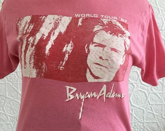 1980's Vintage Pink and Red Bryan Adams World Tour Tee 1987-Rock t-shirt-band t-distressed shirt-hot pink-medium-top-concert memorabilia